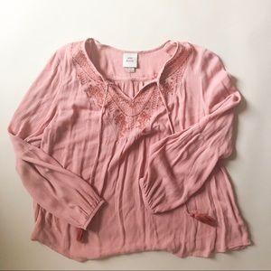 Knox Rose Pink Peasant Blouse